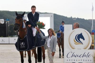 Duffy celebrates an Irish victory in the Chuchle Arena Trophy